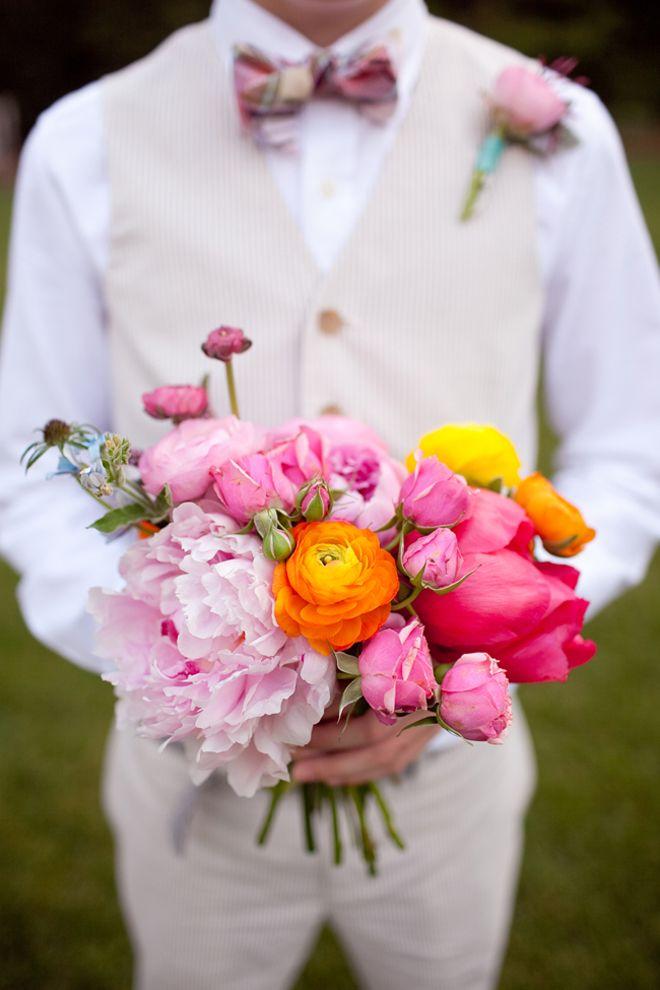 fresh cut wedding bouquet summer colors
