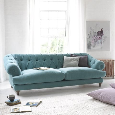 Bagsie sofa in ocean vintage linen with Guernsey rug Sofa Shape - full and buttoned, but still relaxed