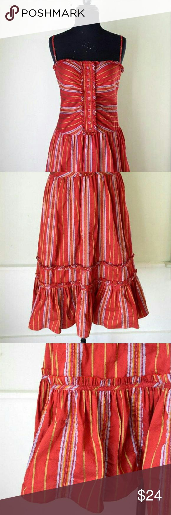 Zara Boho Drop Waist Red Metallic Festival Dress Zara boho dress in a luscious red cotton with stripes in  deep metallics like copper & gold. Drop waist, tiered boho midi skirt. Hidden side seam zipper. Cotton blend. Size Medium in excellent pre-owned condition Zara Dresses Midi