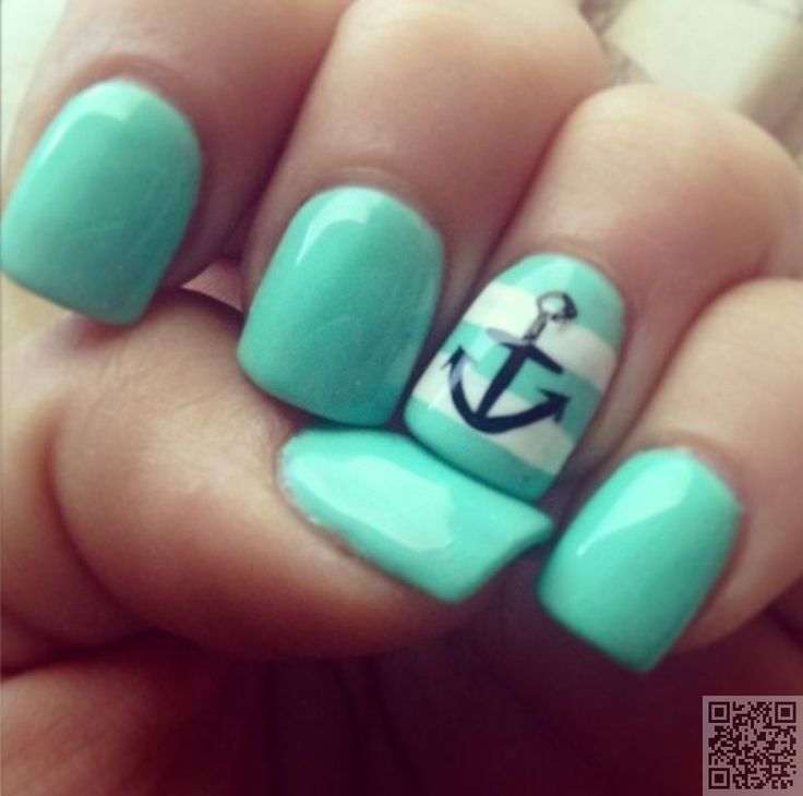 pretty teal polish, teal and white stripes with black anchor | nautical nails