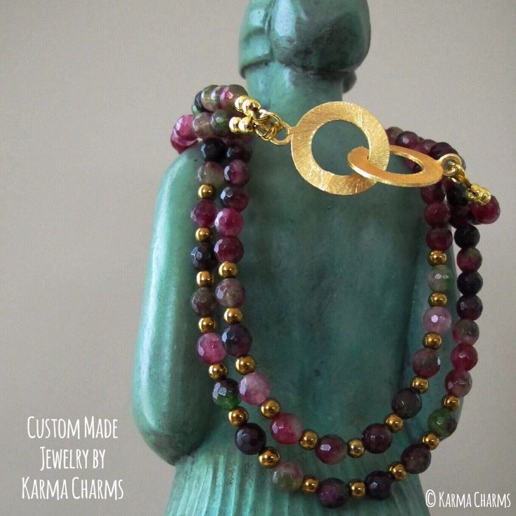 Astonishing double row necklace made of watermelon colored Agate and golden Hematite. I finished it off with a gold plated cuff lock which will catch anyones eyes! #necklaces #collier #agate #hematite #showstopper #fashionjewelry #karma #handmade #jewelry #jewellery #handmadejewelry #oneofakind #stones #semiprecious #semipreciousstones