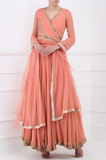 8308ddeeeb3ca SANYA GULATI Dusty Peach Embroidered Wrap Crop Top with Lehenga Skirt Set   sanyagulati  dustypeach  peach  embroidered  wrap  croptop  lehenga  skirt