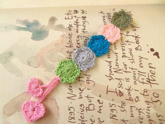 Handmade Crochet Bookmark. Flower Bookmark. by Roxana010 on Etsy