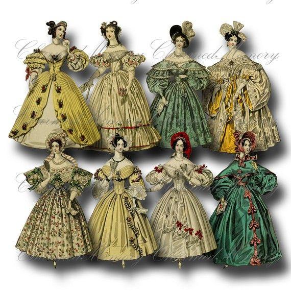 romantic era fashion paper dolls png 1 digital collage