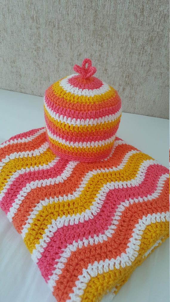 wave crochet blanket and hat by avondale handmade on etsy