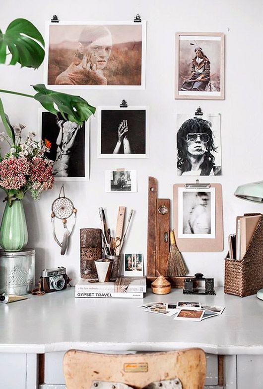 inspiring photographs hung on studio wall. / sfgirlbybay