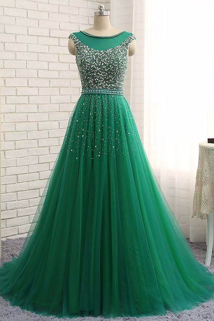 2018 evening gowns - Green tulle sequins round neck long dresses,charming A-line evening dresses