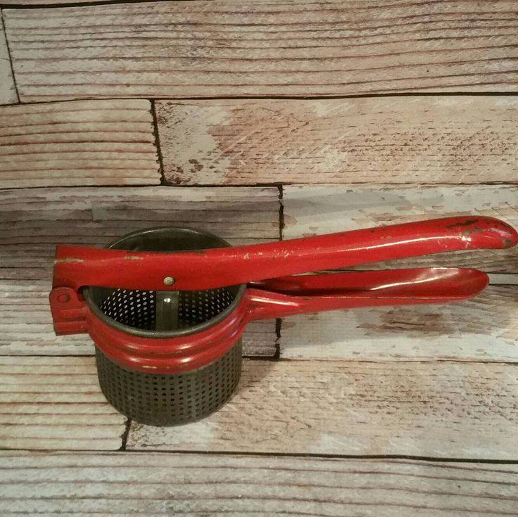Vintage Red Ricer, Potato Ricer, Vintage Kitchen, Rustic, Farmhouse, Primitive, Potato Masher, Red Kitchen by VintageJunqueAmy on Etsy https://www.etsy.com/listing/483194267/vintage-red-ricer-potato-ricer-vintage