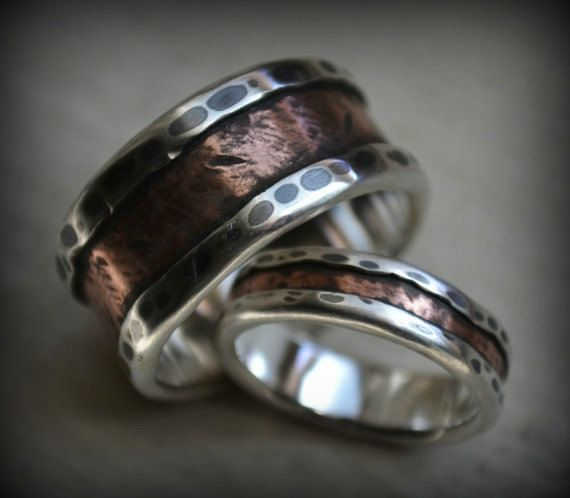 Rustic Wedding Ring Set Fine Silver And 14K Rose By MaggiDesigns 224000