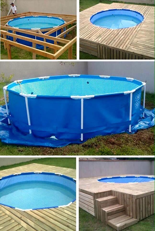 Use paletes para fazer um deck ao redor de uma piscina acima do solo   – Haus