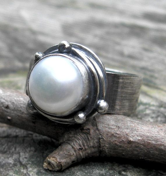 Fresh water pearl sterling silver bramble ring