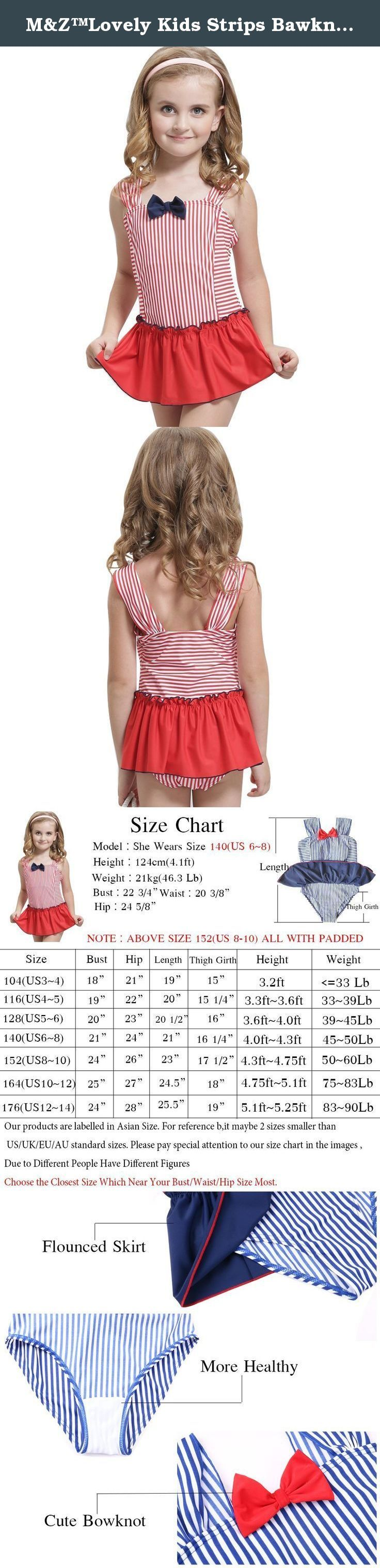 M&Z™Lovely Kids Strips Bawknot Princess Swimsuits Bathing Suit for Girls. Item Specifics * To see more similar products, please click the brand name M&Z or browse in our store COTTEE * Mini separate skirts with stealth flat shorts * Special strip sling dress swimsuit design * Available colors: Blue/ Red * Material: Polyamide,Elasthan * Item Care Instruction:Cold Water Wash, Do Not Bleach * Occasion: summer swimwear, beachwear Measurements * 104(US 3-4) : Height 3.2ft;Weight under 33Lb *...