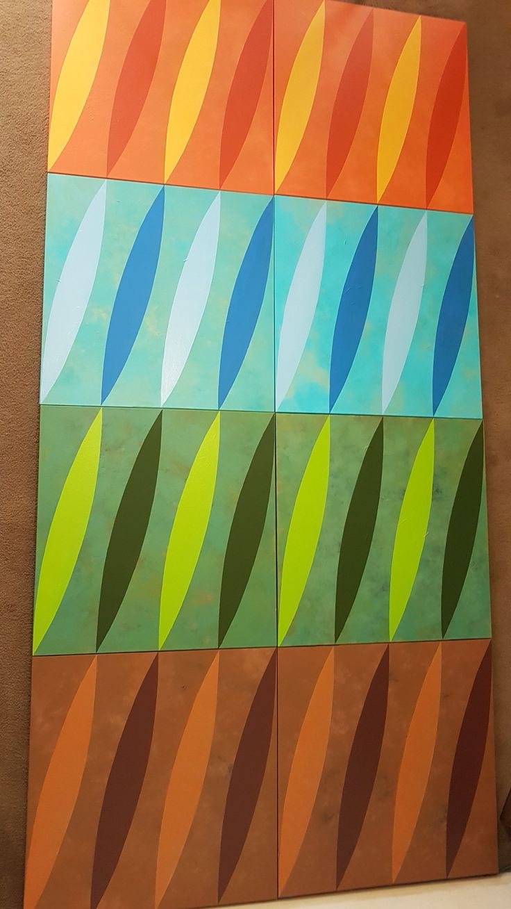 Coloured waves. A painting on eight canvas panels