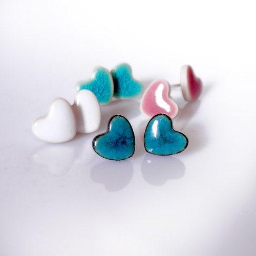 Cute studs Ceramic stud earrings Heart earrings Turquoise Dark / Light turquoise White 10mm Sterling silver post ceramic earring clay studs