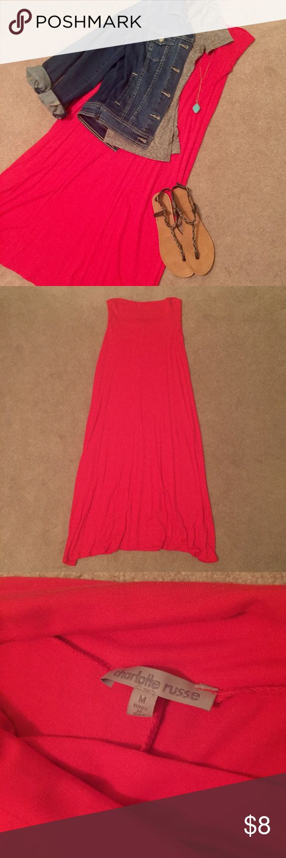 Coral Maxi Skirt - Size Medium Charlotte Russe Coral Maxi Skirt - size small. In great condition, worn only once! Charlotte Russe Skirts Maxi