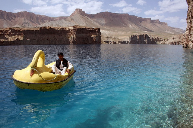 swan shaped pedalo on Band-e Amir lake, Bamiyan Province, central Afghanistan