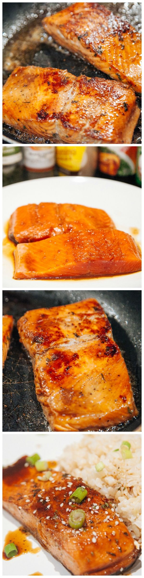 Sockeye Salmon pan fried and mixed in with teriyaki, soy source, sugar, pepper and a few other ingredients. This is the perfect and ideal dinner!