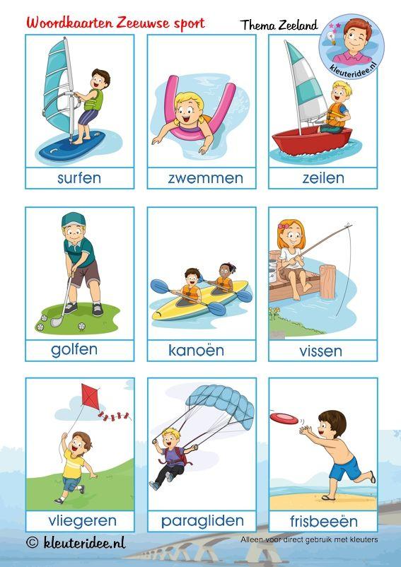Woordkaarten over Zeeuwse sport voor kleuters, kleuteridee, thema Zeeland, free printable..