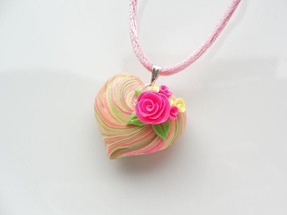 *POLYMER CLAY ~ heart necklace with pink rose with a satin cord necklace