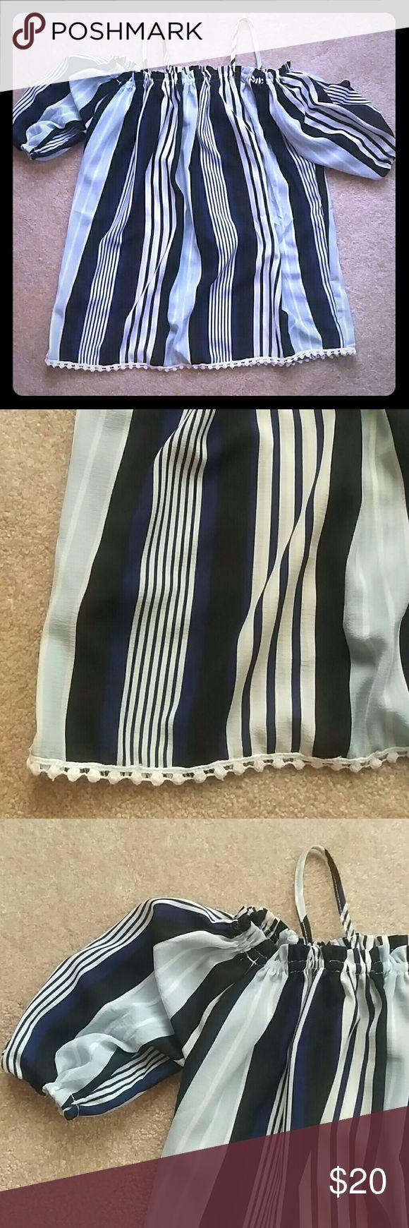 ASOS Cold Shoulder Top Black, light blue, dark blue, and cream striped cold shoulder ASOS top, never worn ASOS Tops Blouses