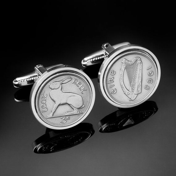 50th birthday gift1963 Irish threepence by worldcoincufflinks, $69.00