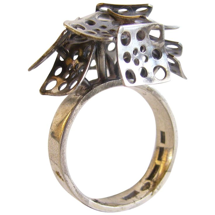 Liisa Vitali Finnish Modernist Silver Ring   From a unique collection of vintage cocktail rings at https://www.1stdibs.com/jewelry/rings/cocktail-rings/