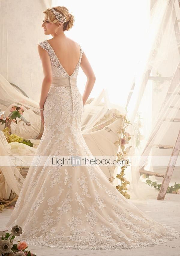 Vestido de Noiva Sereia Em V Cauda Escova/Comprido ( Renda ) - USD $ 299.99