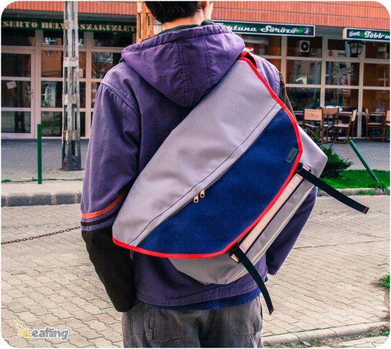 Light Grey XL  Bike Messenger Bag Waterproof Padded by LeaflingoOo, $113.00