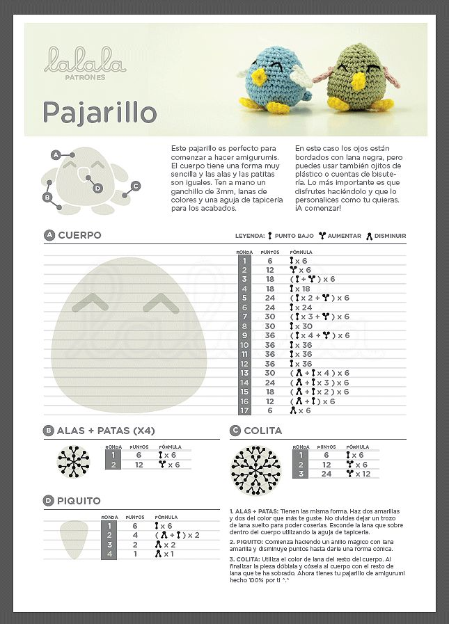 Patrones / Patterns {Pajarito / Little bird} on http://www.lalalatoys.com #amigurumi #pattern #bird