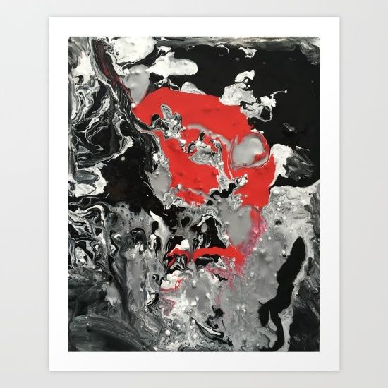 Abstract - Red Black White 07 Art Print by Sophie_lemieux. Worldwide shipping available at Society6.com. Just one of millions of high quality products available.