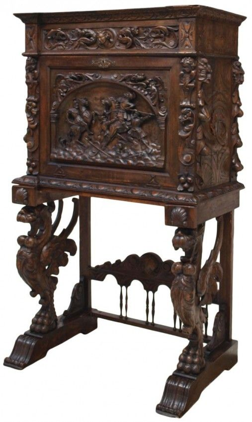SPANISH BAROQUE REVIVAL CARVED VARGUENO DESK