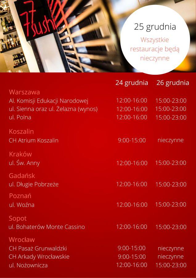 Aktualności - Sushi 77 Sprawdźcie godziny otwarcia w Święta!
