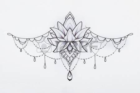 Lotus Flower Tattoo Designs: Gemalte Grafik Anhänger auf weißem Hintergrund. Stoc … #tattoos