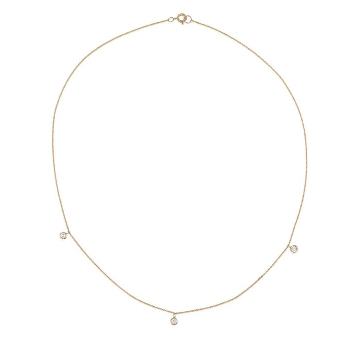 Three Diamond Choker Necklace - STONE AND STRAND in WHITE GOLD