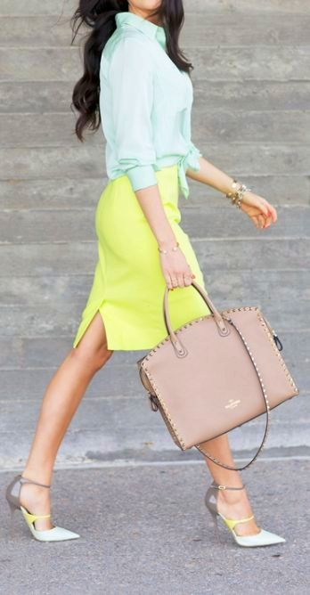 Best Street Style Inspiration - Bright yellow skirt with mint top  leather bag  matching shoes