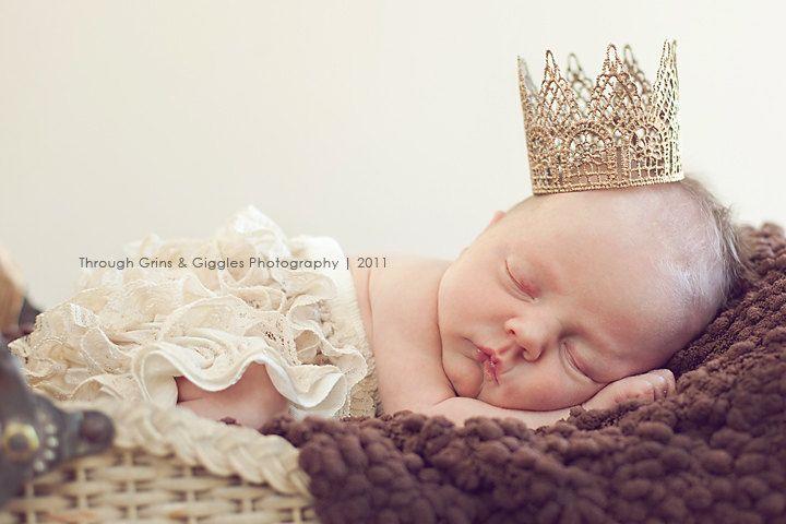 Newborn Crown-Baby Crown-Photography Prop-Baby Shower Gift-Infant Crown-Gold Crown-Silver Crown-Photo Prop-Handmade Crown-Tiara. $17.00, via Etsy.