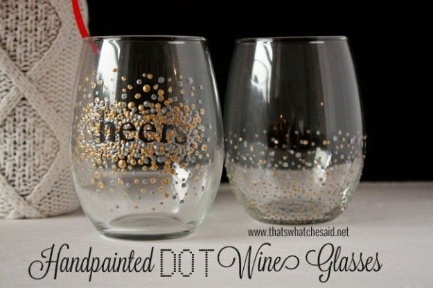 Jazz up some stemless wine glasses with puffy fabric paint. | Here's How To Paint Literally Everything