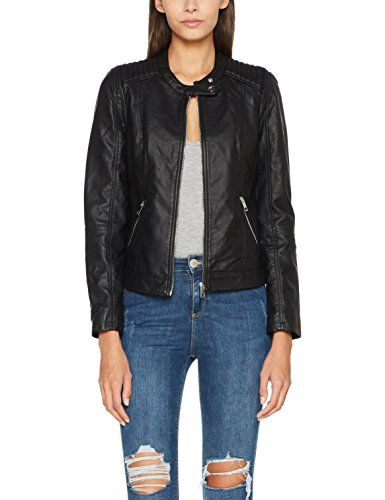 db22265512e75 Pimkie Veste esprit biker simili cuir noir épaules matelassées Femme -  Taille 40   Veste en cuir pour femme   Pinterest