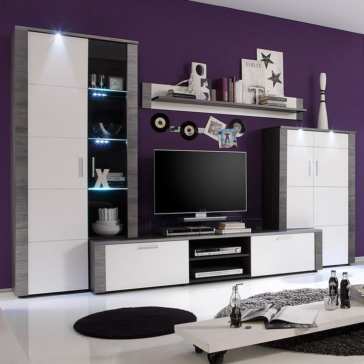 EEK A+, Wohnwand Bormo (4-teilig) - inkl Beleuchtung - Weiß\/Esche - moderner wohnzimmerschrank mit glastüren und led beleuchtung