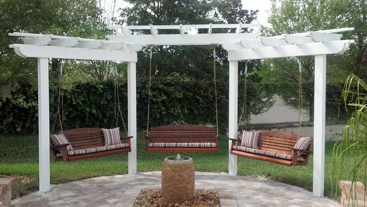 I need a pergola with 3 swings! Then everybody could come over and swing while we eat, drink and talk!