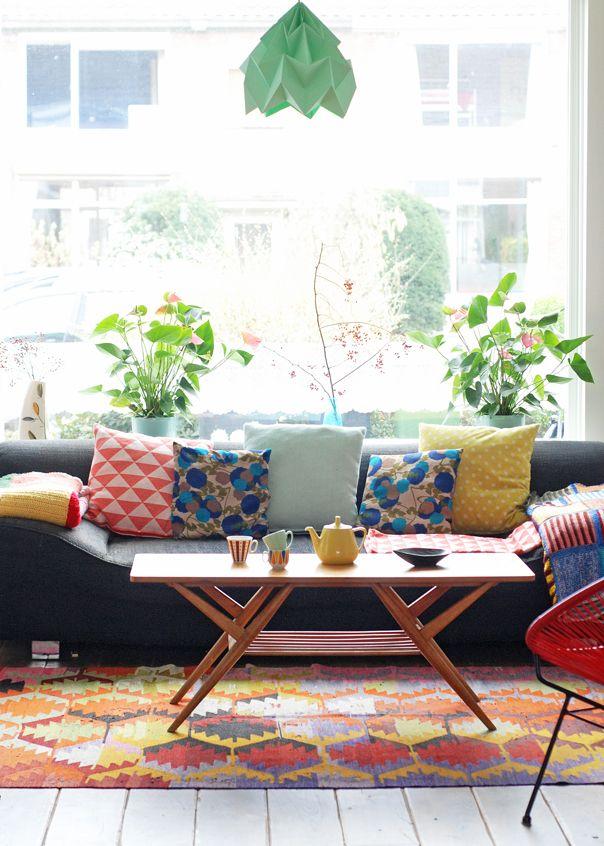 sofa with moth lampshade