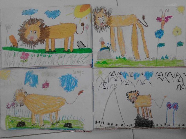 *Singa* karya anak anak. Belajar menggambar untuk anak usia dini. :-D