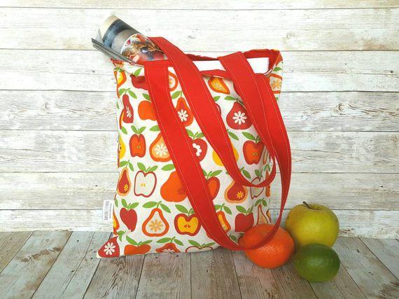 Foldable tote tas rood boek tas, herbruikbare kruidenier zak, Moederdag dag cadeau, boodschappentas, schoudertas, Appel peren, markt tote, fruit tas