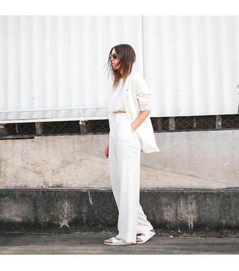 @Who What Wear - Modernlegacyis wearing: Zara blazer, Sass & Bide pants, Birkenstock sandals.  Get The Look: Nasty GalClean Slate Blazer($48)  See more ways to wearwhite blazerson Pose.com.