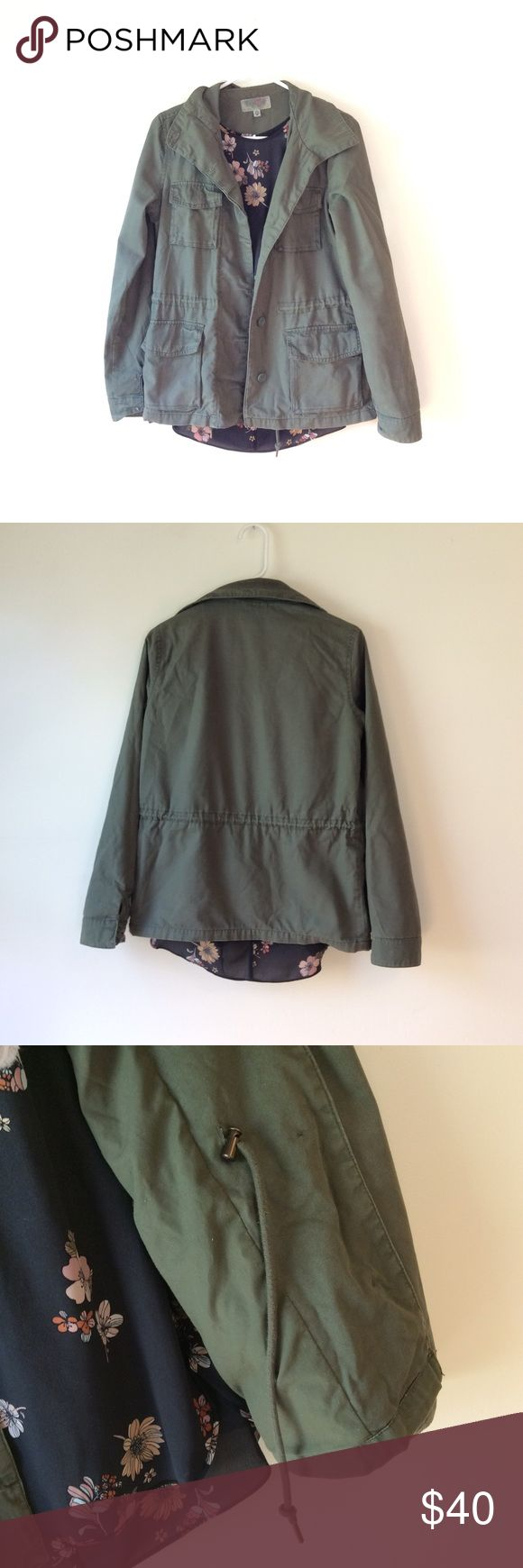 Classic Army Green Coat Button up, army green jacket with adjustable drawstring. Perfect jacket for the transitional seasons! Ecote Jackets & Coats