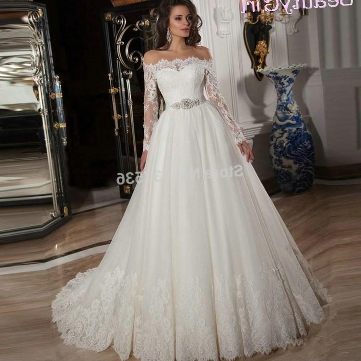 Wedding Dress 2016 Hot Ivory Appliques Off the Shoulder Tulle Ball Gown Plus Size Long Sleeve
