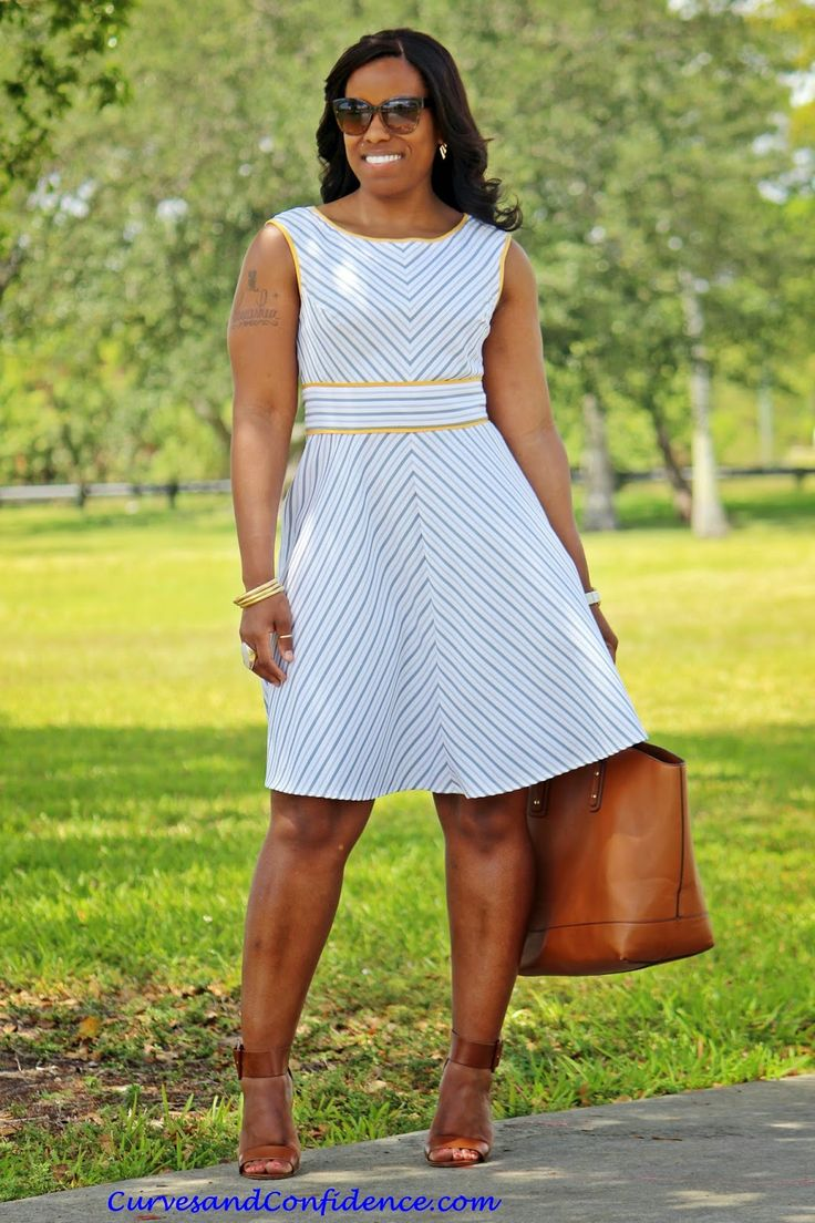 Curves and Confidence | Inspiring Curvy Women One Outfit At A Time: Spring Seersucker - | Dress - JCPenney | Sandals -Deb Shops | Purse - Just Fab |