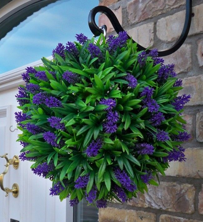 love the hook for hanging plants.  DIY Hanging Flower Ball for Your Garden | Site For Everything