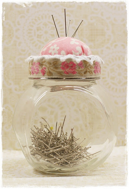 Adorable pincushion from jar