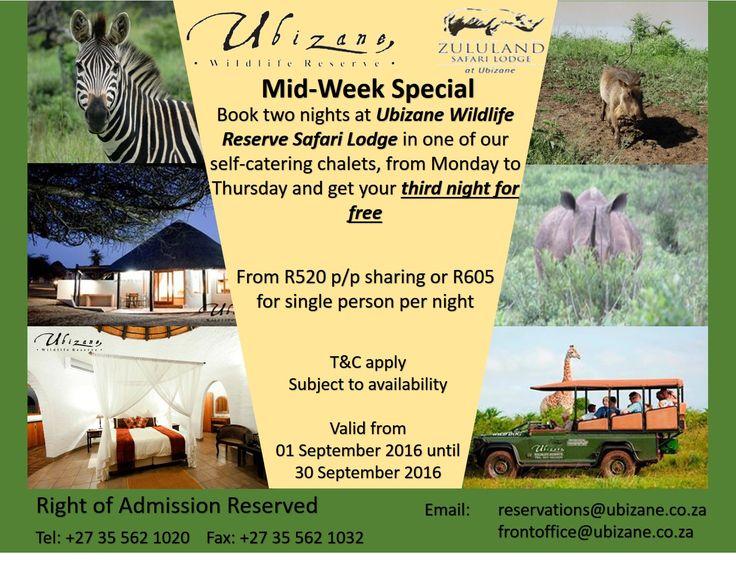 Ubizane Wildlife Reserve - Spring Midweek Special